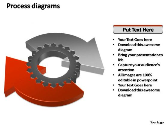 PowerPoint Theme Strategy Business Process Geared Diagram Ppt Slides