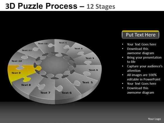 PowerPoint Theme Success Pie Chart Puzzle Process Ppt Presentation