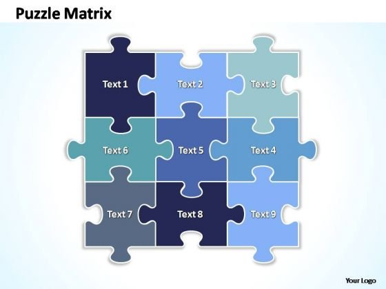 PowerPoint Theme Success Rectangular Jigsaw Puzzle Matrix Ppt Themes