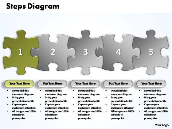 PowerPoint Themes Business Five Improvement Steps Puzzle Ppt Slides