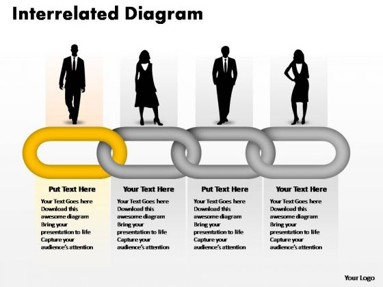PowerPoint Themes Business Interrelated Concepts Chain Diagram Ppt Slides