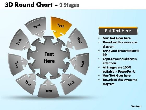 PowerPoint Themes Chart Pie Chart With Arrows Ppt Slides