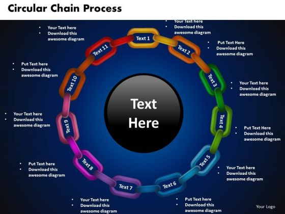 PowerPoint Themes Circular Chain Process Leadership Ppt Slides