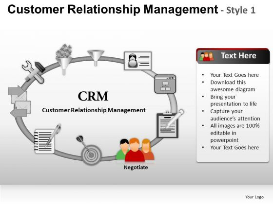 PowerPoint Themes Company Growth Customer Relationship Management Ppt Slide