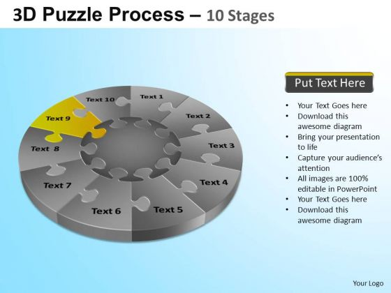 PowerPoint Themes Corporate Growth Puzzle Segment Pie Chart Ppt Slide