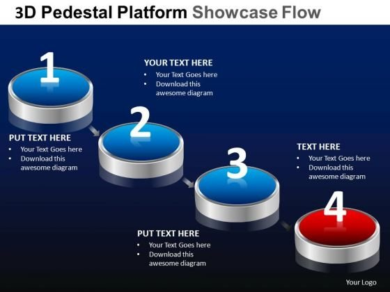 PowerPoint Themes Designs Process Pedestal Platform Showcase Ppt Slide