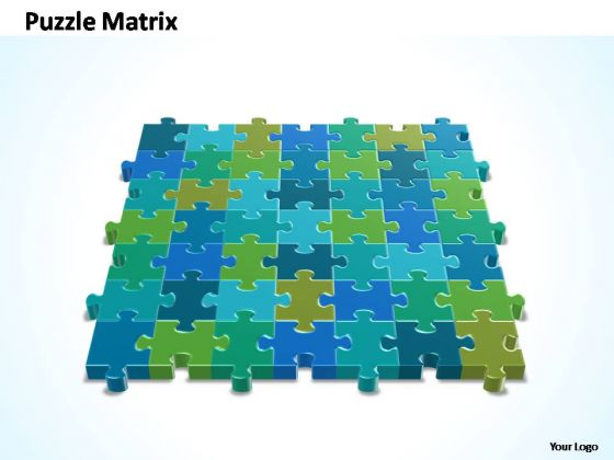 PowerPoint Themes Diagram 7x7 Rectangular Jigsaw Puzzle Matrix Ppt Slides