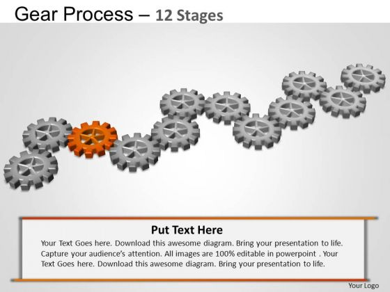 PowerPoint Themes Diagram Gears Process Ppt Template