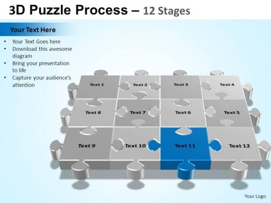PowerPoint Themes Education Puzzle Process Ppt Templates