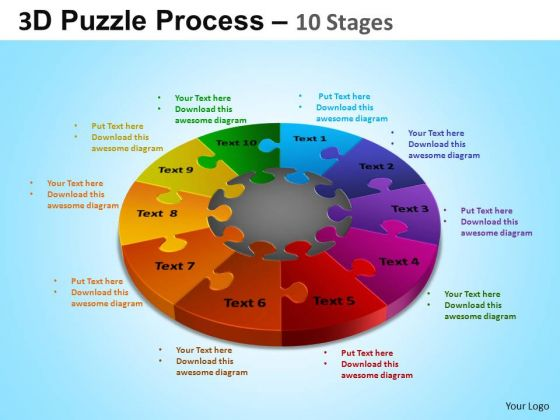 PowerPoint Themes Growth Puzzle Segment Pie Chart Ppt Design Slides