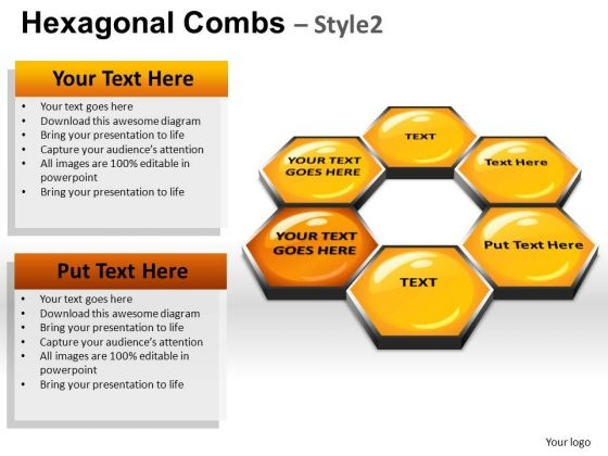 PowerPoint Themes Leadership Hexagonal Combs Ppt Presentation