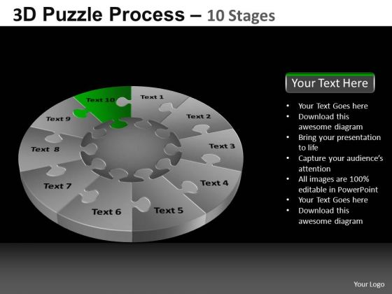 PowerPoint Themes Leadership Pie Chart Puzzle Process Ppt Slidelayout