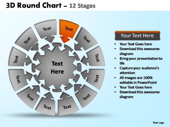 PowerPoint Themes Process Pie Chart With Arrows Ppt Design Slides