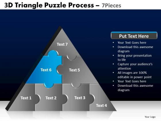 PowerPoint Themes Process Triangle Puzzle Ppt Slide