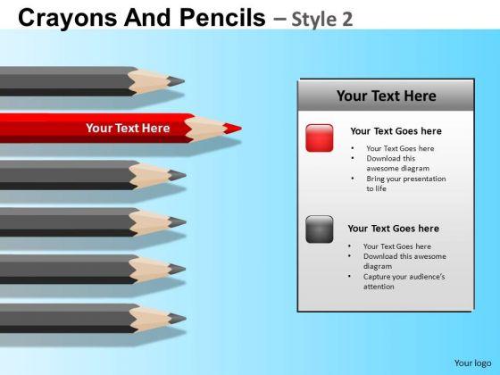 PowerPoint Themes Sharp Teamwork Pencils Education Ppt Slides