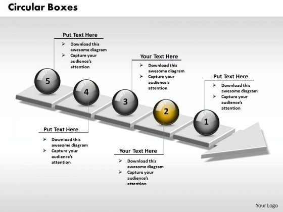 Ppt 3d Adjoining Circular Link Text Boxes PowerPoint 2007 On Arrows 5 Stages Templates
