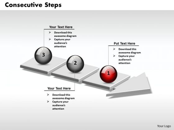 Ppt 3d Arrow Representing Consecutive Steps PowerPoint Templates