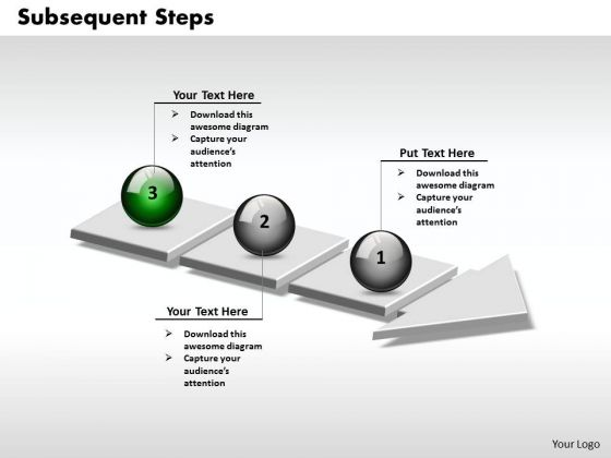 Ppt 3d Arrow Representing Subsequent Steps PowerPoint Templates