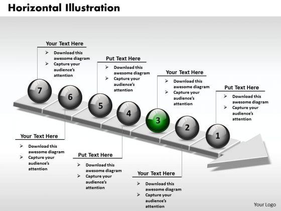 Ppt 3d Balanced Illustration Through Arrow 7 Phase Diagram PowerPoint Templates