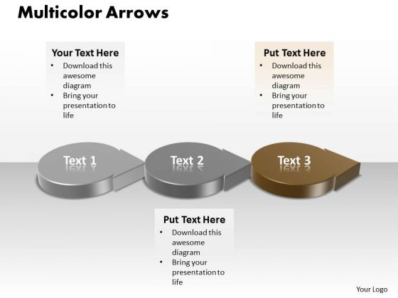 Ppt 3d Circular Arrows PowerPoint 2010 Showing Brown Stage Templates