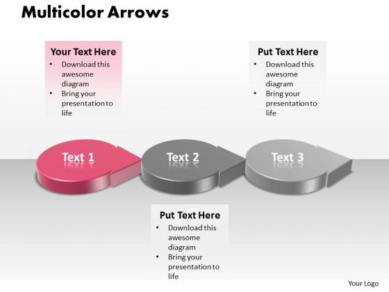 Ppt 3d Circular Curved Arrows PowerPoint 2010 Showing Pink Stage Templates