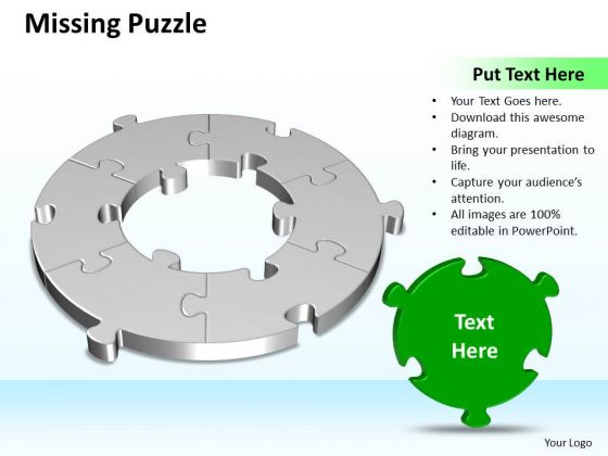 Ppt 3d Circular Missing Puzzle PowerPoint Free Piece 6 State Diagram Business Templates