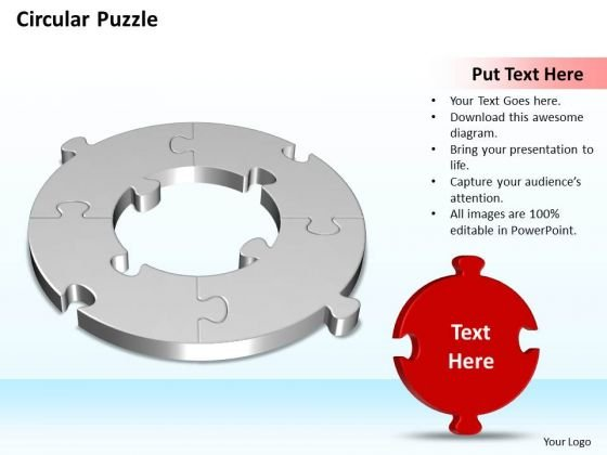 Ppt 3d Circular Puzzle Support Structure Fitting The Missing Piece Business PowerPoint Templates