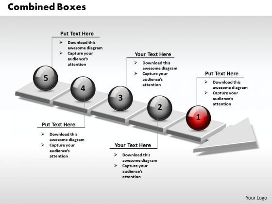 Ppt 3d Combined Circular Align Text Boxes PowerPoint 2010 On Arrows 5 Stages Templates