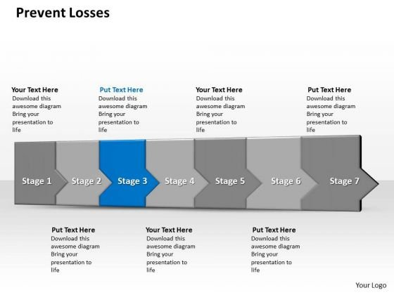 Ppt 3d Consecutive Demonstration To Avoid Banking Losses Seven Steps PowerPoint Templates