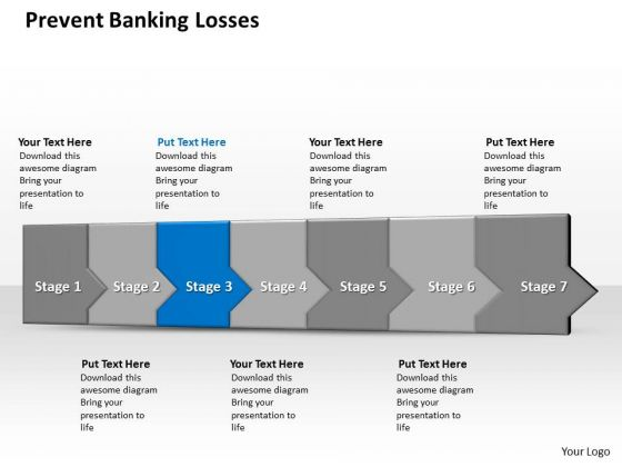 Ppt 3d Consecutive Demonstration To Prevent Banking Losses Seven Steps Stage PowerPoint Templates