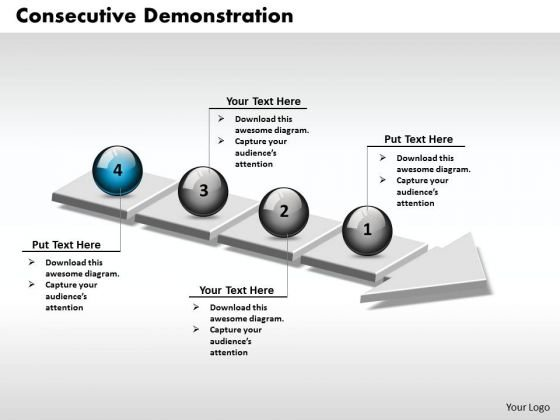 Ppt 3d Consecutive Demonstration Using Arrow Of 4 Power Point Stage PowerPoint Templates