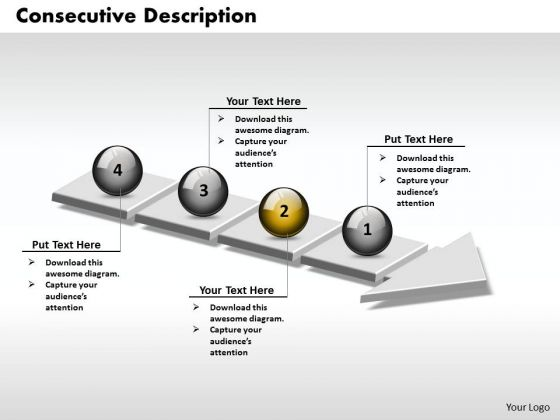 Ppt 3d Consecutive Description Using Arrow Of 4 Power Point Stage PowerPoint Templates