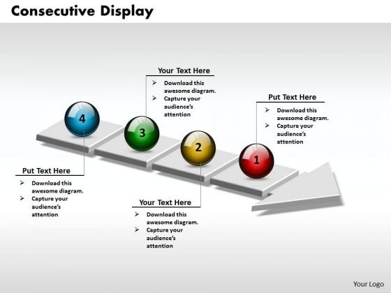 Ppt 3d Consecutive Display Using Arrow Of 4 Phase Diagram PowerPoint Templates