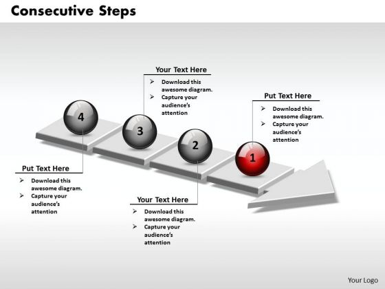 Ppt 3d Consecutive Explanation Using Arrow Of 4 State Diagram PowerPoint Templates