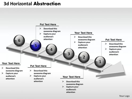 Ppt 3d Horizontal Abstraction Of Business Create PowerPoint Macro 6 Stages Templates
