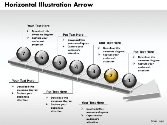 Ppt 3d Horizontal Example Through An Arrow 7 State Diagram PowerPoint Templates