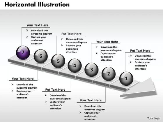 Ppt 3d Horizontal Illustration Through An Arrow 7 Stage PowerPoint Templates