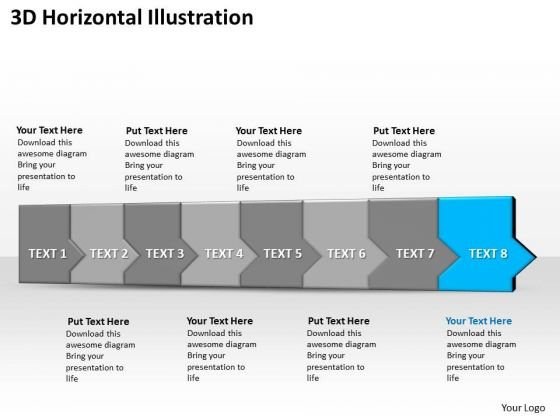 Ppt 3d Horizontal Illustration To Cut Off Business Losses Eight Steps PowerPoint Templates