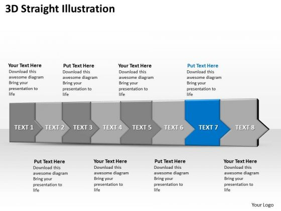 Ppt 3d Horizontal Illustration To Defend Marketing Losses Eight Steps PowerPoint Templates