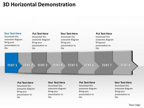 Ppt 3d Horizontal Illustration To End Marketing Losses Eight Steps PowerPoint Templates