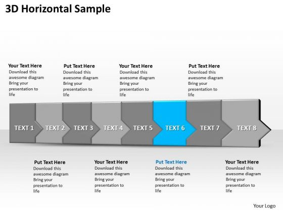Ppt 3d Horizontal Illustration To Prohibit Marketing Losses Eight Steps PowerPoint Templates