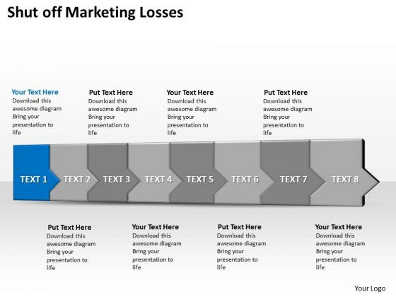 Ppt 3d Horizontal Illustration To Shut Off Marketing Losses Eight Steps PowerPoint Templates