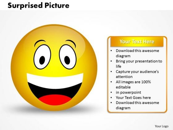 Ppt 3d Illustration Of Surprised Emoticon Picture Business PowerPoint Templates