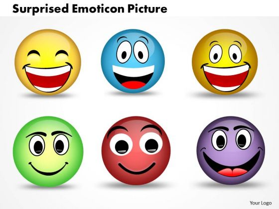 Ppt 3d Illustration Of Surprised Emoticon Picture PowerPoint Templates