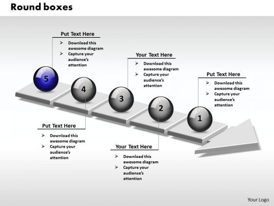 Ppt 3d Interconnected Round Link Text Boxes PowerPoint 2007 Arrows 5 Stages Templates