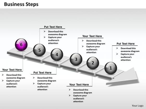 Ppt 3d Linear Abstraction Of Business Steps 6 Power Point Stage PowerPoint Templates