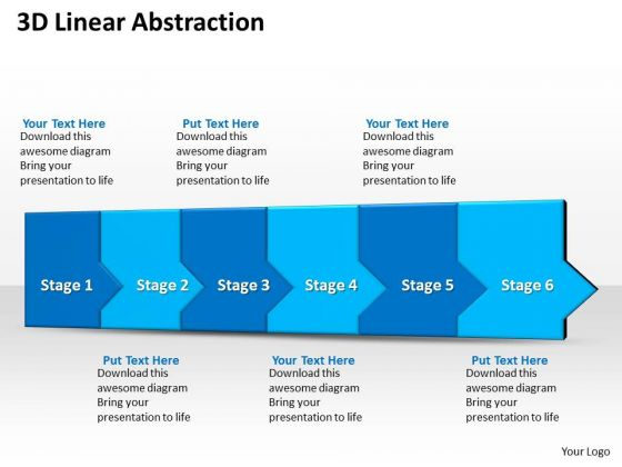 Ppt 3d Linear Abstraction To Impede Business Losses Six Step PowerPoint Templates