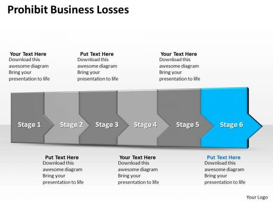 Ppt 3d Linear Abstraction To Prohibit Business Losses Six Steps PowerPoint Templates