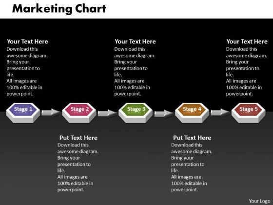 ppt 3d linear mobile marketing powerpoint presentation flow chart, Presentation templates