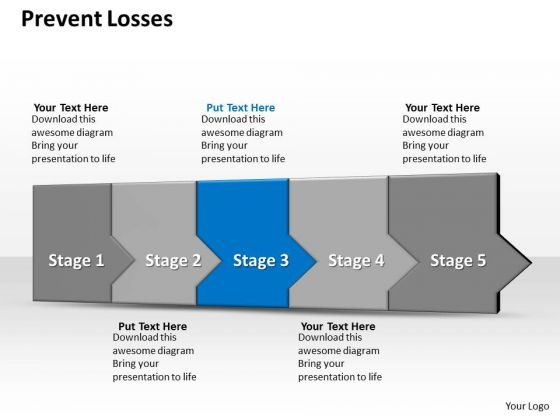 Ppt 3d Straight Description To Restrain Business Losses Five Steps PowerPoint Templates